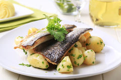 Pan fried trout with potatoes stock photo