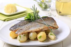Pan Fried Trout With Potatoes Stock Image