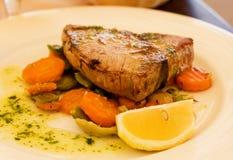 Pan-Fried Tuna Steaks. Royalty Free Stock Photos