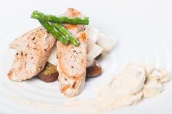 Pan fried tuna with vegetable and mushroom sauce Stock Photos