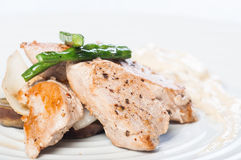 Pan fried tuna with vegetable and mushroom sauce Royalty Free Stock Images
