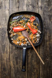 Pan fried vegetables and mushrooms Royalty Free Stock Images