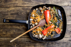 Pan fried vegetables and mushrooms Stock Photo