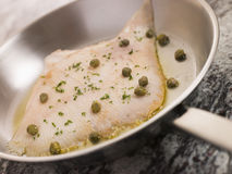 Pan Fried Wing of Skate with Caper Butter Stock Photography