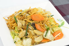 Pan Fried Yellow Chinese noodle call Royalty Free Stock Image