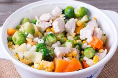 Pan with frozen vegetable mix for frying. Studio Photo. Pan with frozen vegetable mix for frying stock photo