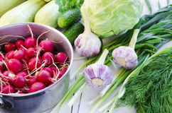 Pan full of radishes and garlic. Garlic and radishes in the stainless steel pan, celery stalks, chervil and cabbage, squashes spring onion and green garlic, dill Stock Photo