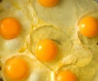 Pan full of scramble eggs in a frying pan Stock Image