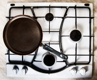 Pan on gas stove Stock Image