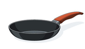 Pan with handle. Vector illustration isolated on white background Stock Image