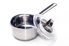 Pan handle. Pan with glass lid isolated on white background Stock Photography