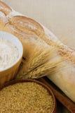 Pan, harina, y alergénicos del alimento de la demostración del germen de trigo Fotos de archivo