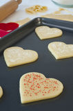 Pan of Heart Cookies Royalty Free Stock Photos