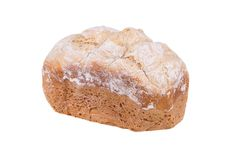 Pan hecho en casa de la harina blanca aislado en el fondo blanco, cocido en fabricante de pan Fotografía de archivo libre de regalías