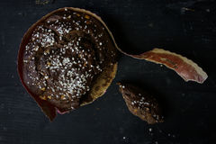 Pan hecho en casa del panettone de la Navidad incluso Foto de archivo