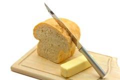 Pan hecho en casa y mantequilla Foto de archivo