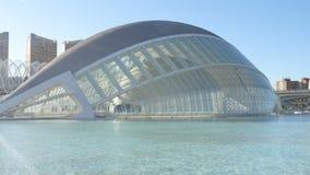 Hemisferic building in Valencia, Spain. City of Arts and Sciences. Pan of Hemisferic building in Valencia, Spain stock footage