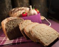Pan, huevo, leche y verduras Desayuno Fotografía de archivo libre de regalías
