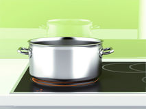 Pan with induction stove Royalty Free Stock Images