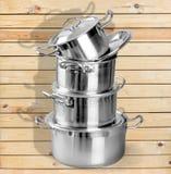Pan. Kitchen Utensil Sauce Stainless Steel Stack Steel Set stock photos