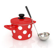Pan with a ladle. Royalty Free Stock Photo