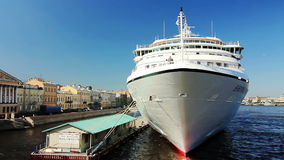 PAN of Large cruise ship, St.Petersburg stock footage