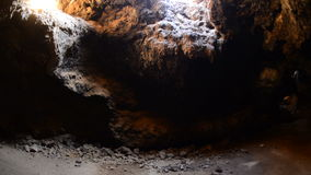 Pan of Lava Tube Cave stock video footage