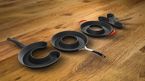 Pan letters over table. Perspective view of 3 dimensional pan letters Royalty Free Stock Images