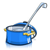 Pan with lid and ladle Stock Image