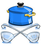Pan with lid and ladle Royalty Free Stock Images