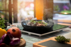 Pan with meat and herbs. Royalty Free Stock Photos