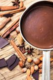 Melting chocolate in a metal bowl Royalty Free Stock Image