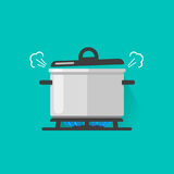 Pan met stoom op gasfornuisbrand die wat kokende geïsoleerde voedsel vectorillustratie, vlakke beeldverhaalsteelpan koken en vector illustratie