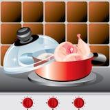 Pan met vlees Stock Foto