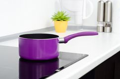 Pan in modern kitchen Stock Photography