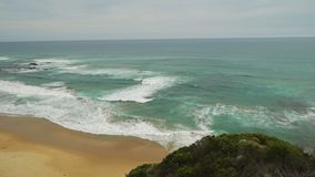 Pan move of the ocean and beaches on the Great Ocean Road in Australia stock video footage