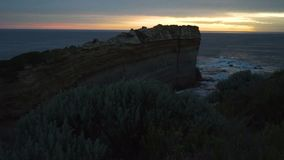 Pan move of Razorback lookout at sunset in The twelve apostles in Australia stock video