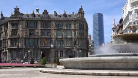 Pan of Moya plaza. A view inside Plaza Moya, The Central Plaza in Bilbao, Spain stock footage