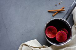 Pan with mulled wine and copy space royalty free stock photography