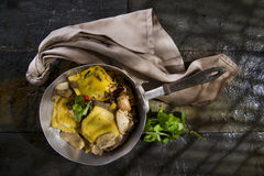 Pan Of Mushroom Ravioli Stock Image