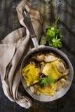 Pan Of Mushroom Ravioli Stock Photos