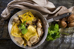 Pan Of Mushroom Ravioli Royalty Free Stock Images