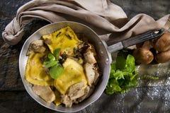 Pan Of Mushroom Ravioli Royalty Free Stock Images