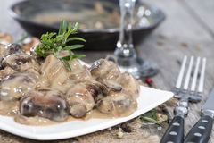 Pan with Mushrooms in Sauce Stock Image