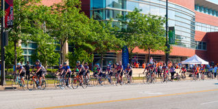 Pan Ohio start. CLEVELAND, OH - JULY 23, 2015: The Pan Ohio Hope ride, a 4-day charity bike ride from Cleveland to Cincinnati sponsored by the American Cancer stock photo