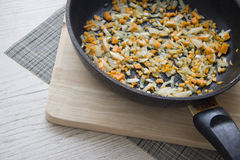 Pan with onions for pilaw Royalty Free Stock Photo