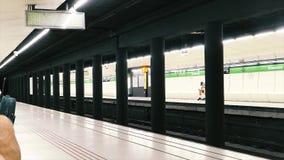 Pan over Metro van Barcelona post van Drassanes stock footage