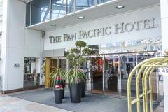 Pan Pacific Hotel em Vancôver - em VANCÔVER/CANADÁ - 12 de abril de 2017 fotografia de stock royalty free