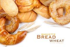 Pan, pan, baguette, panecillo, trigo Imágenes de archivo libres de regalías