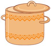 Pan with pattern. Kitchen utensil, orange spot with abstract graphic pattern Stock Photo